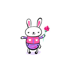 cute smiling kawaii easter bunny keep the flower vector image