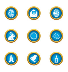 day religion icons set flat style vector image