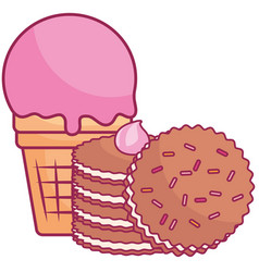 Delicious cookies and ice cream vector