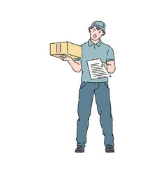 delivery man or courier in uniform holds post boxe vector image