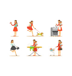Energetic female housewife holding bain arms vector