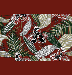 Exotic orchids and tropical leaves vector