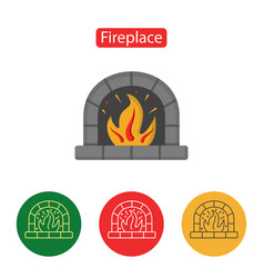 fireplace icon christmas decorations vector image