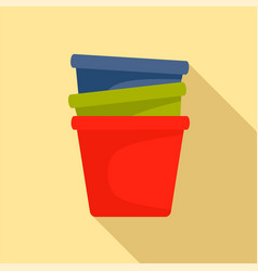 flowerpots icon flat style vector image
