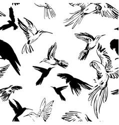 flying exotic birds seamless pattern black vector image