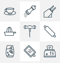 gastronomy icons line style set with cutting board vector image