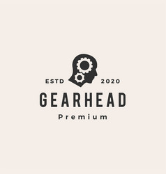 gear head hipster vintage logo icon vector image