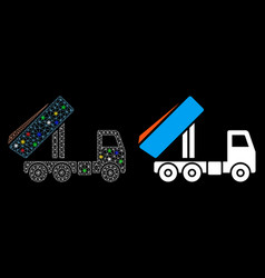 Glowing mesh network unloading tipper icon with vector