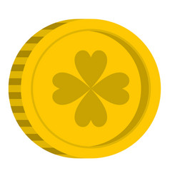 golden coin with clover sign icon isolated vector image