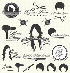 Hair salon labels and icons vector