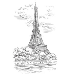 Hand drawing paris 1 vector