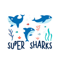 Hand drawing print design little sharks il vector