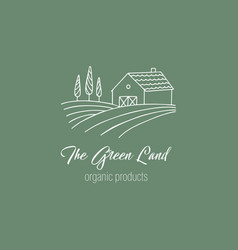 hand drawn farm logo in doodle style vector image