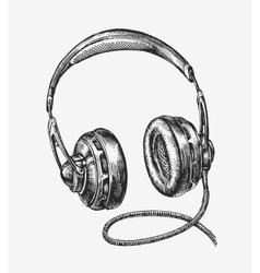 Hand-drawn vintage headphones Sketch music vector