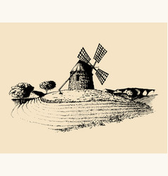 hand sketch of rustic windmill in fields vector image