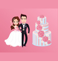Happy bride with groom and holiday cake vector
