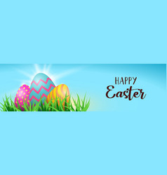 happy easter colorful spring 3d eggs web banner vector image