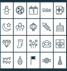 happy icons set with cake celebration rocket vector image