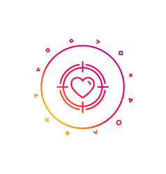Heart in target aim icon love symbol vector
