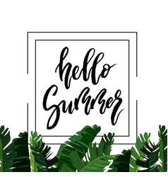 Hello summer brush lettering vector