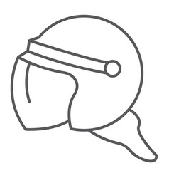 Helmet thin line icon protection and uniform vector