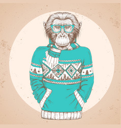 hipster animal monkey dressed up in pullover vector image