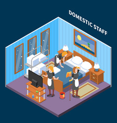 household staff isometric composition vector image