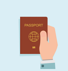 human holding red passport vector image