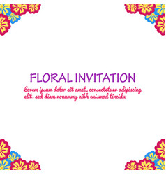 invitation with floral background romantic vector image