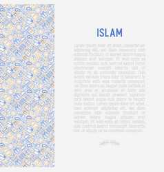 Islamic concept with thin line icons vector