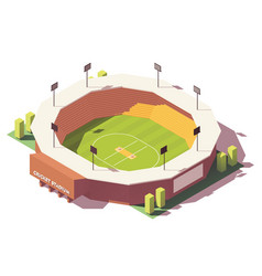 isometric low poly cricket stadium vector image