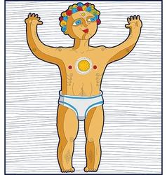 Lined of nude man god of sun hand drawn ar vector