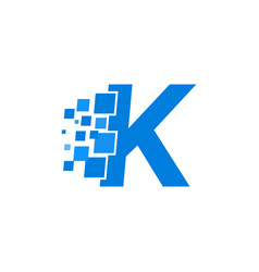 logo letter k blue blocks cubes vector image