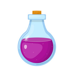 Magic potion in bottle with purple liquid vector