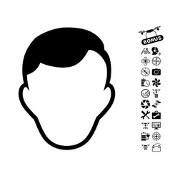 Man Face Template Icon With Copter Tools Bonus vector