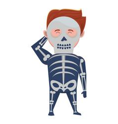 Man with halloween skull costume vector
