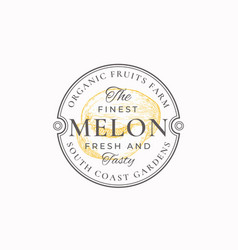 Melon with a slice frame badge or logo template vector