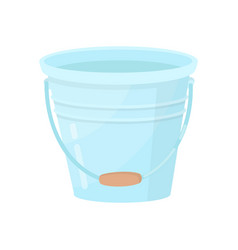 metal bucket with wooden handle small blue water vector image