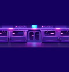 Metro station empty subway platform underground vector