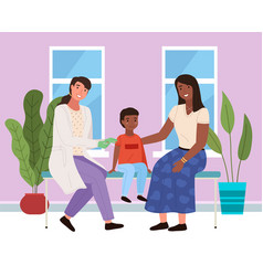 mom and son at doctor s appointment vector image
