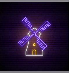 Neon windmill signboard glowing retro mill emblem vector