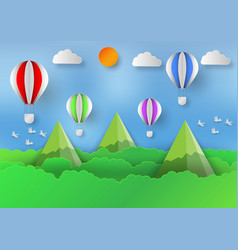 paper art style of landscape with balloon vector image