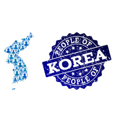 People collage of mosaic map of korea and vector