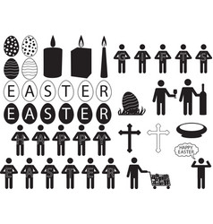 people pictograph for easter vector image