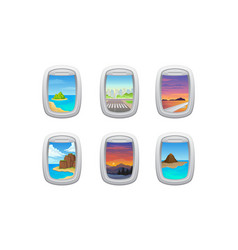 Picturesque view from airplane window or porthole vector