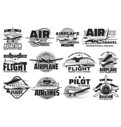 pilot courses and flight tours icons set vector image