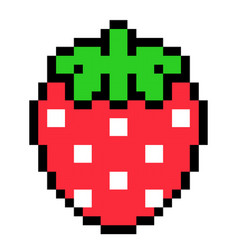 Pixel strawberry image for 8 bit game assets vector