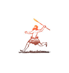 Primitive man spear caveman hunter concept vector