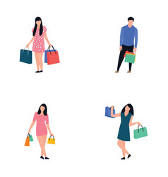 purchasing people flat icons pack vector image
