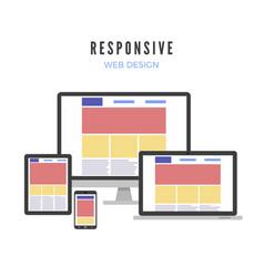responsive web design website template vector image
